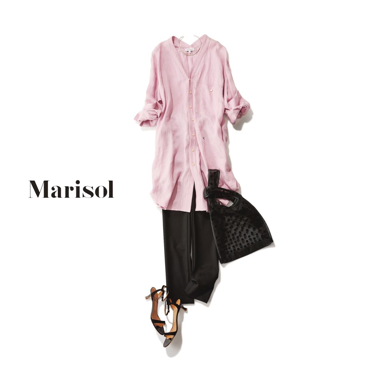 40代ファッション ピンクボリュームシャツ×黒スキニーパンツコーデ