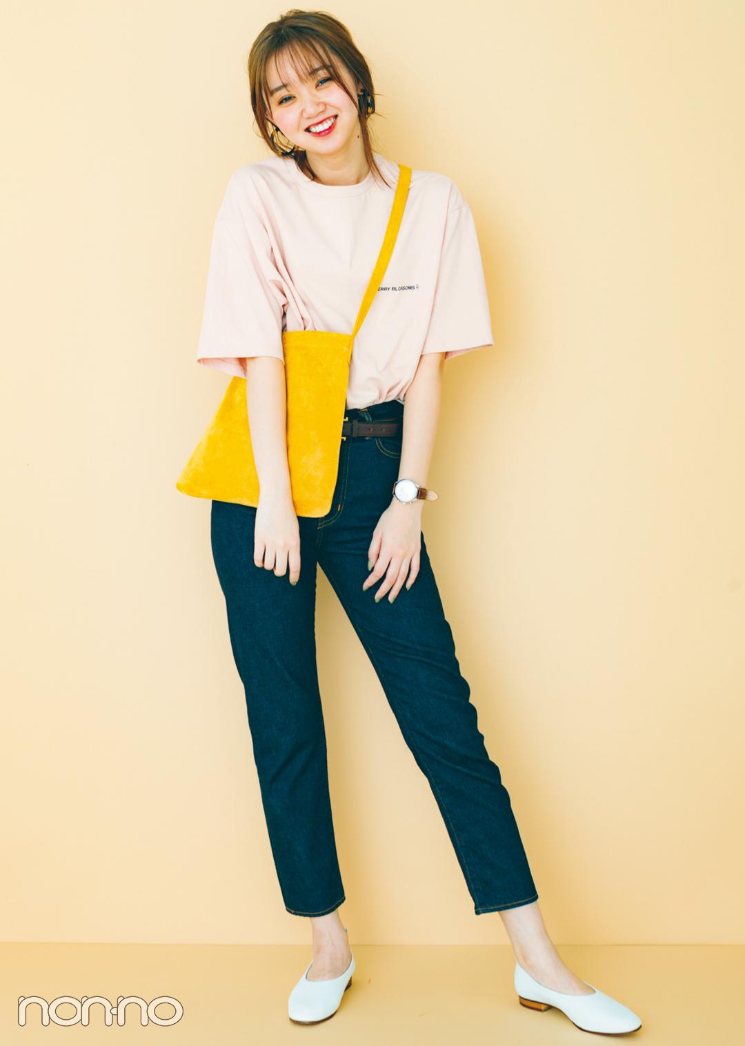 トレンドのくすみ色&ちびロゴTシャツで女っぽ着回しコーデ1×5!_1_3-3