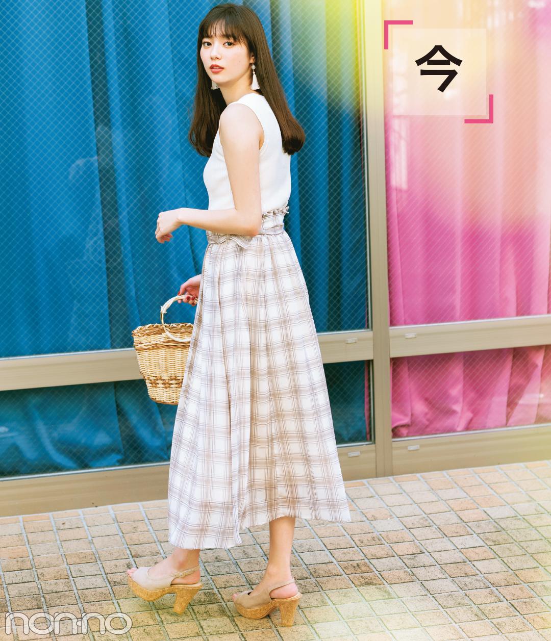 新川優愛が10月まで着回す! シアーチェックのロングスカート♡ _1_2-1