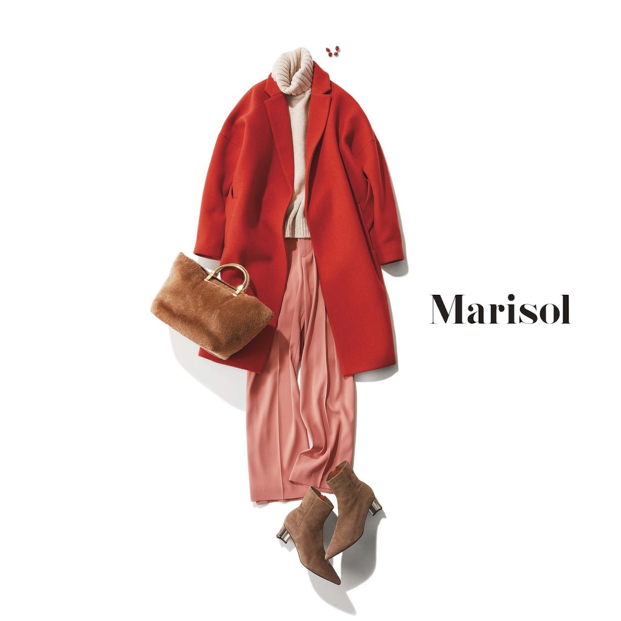 40代ファッション オレンジコート×ピンクパンツコーデ