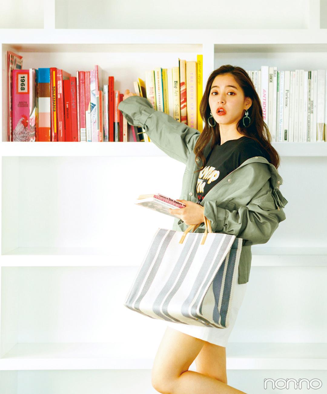 新木優子はマンパを襟抜きで着る♡ こなれ感200%増し!【毎日コーデ】_1_1