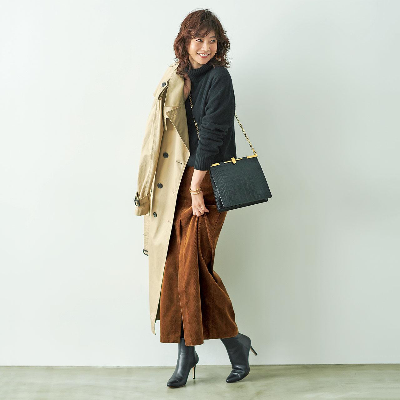 ファッション 黒のタートルニット×マキシタイトスカートコーデ