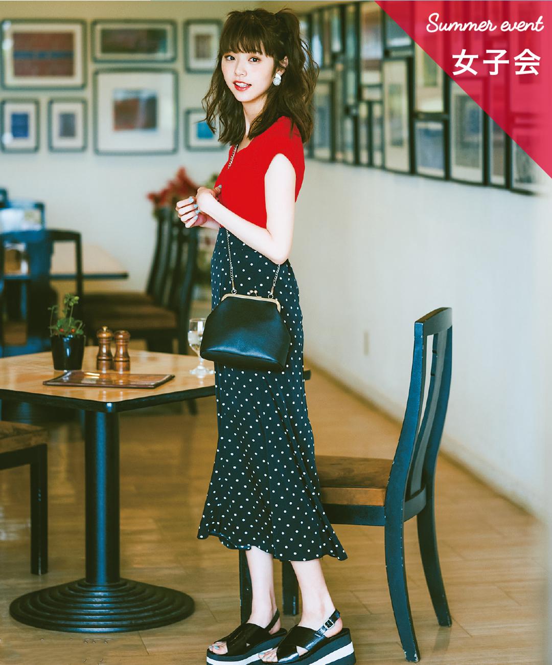 【夏のロングスカートコーデ】鈴木優華は、ドットスカートで真夏のフレンチガーリーに♡