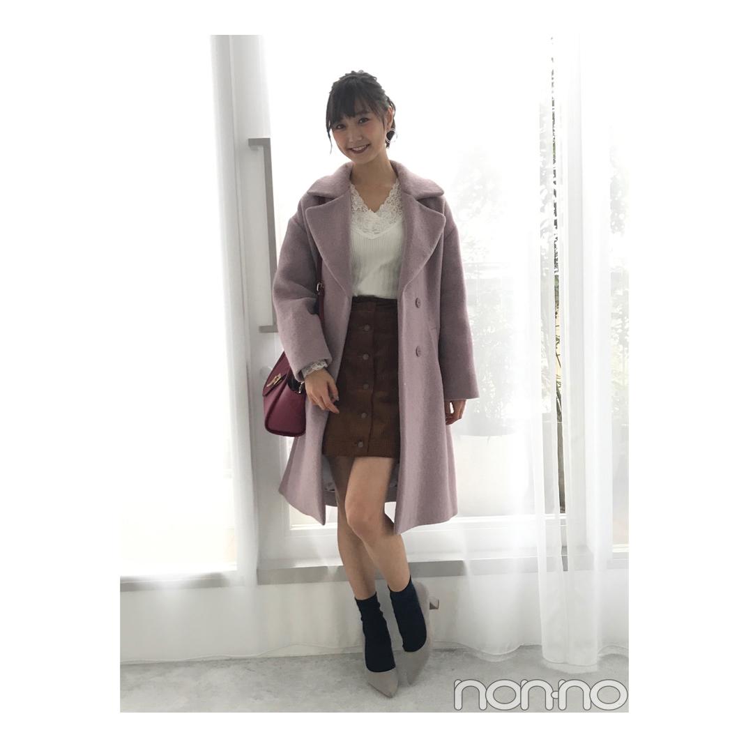 鈴木友菜が着回す♡ くすみピンクのコクーンシルエットコート【毎日コーデ】_1_1