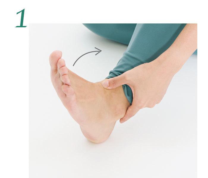 1.足首の中央に手の親指の腹を当て、足首を内側に曲げて、次に戻す。足首の中央にあるリンパ節に自然に圧がかかる。これを左右各10回。
