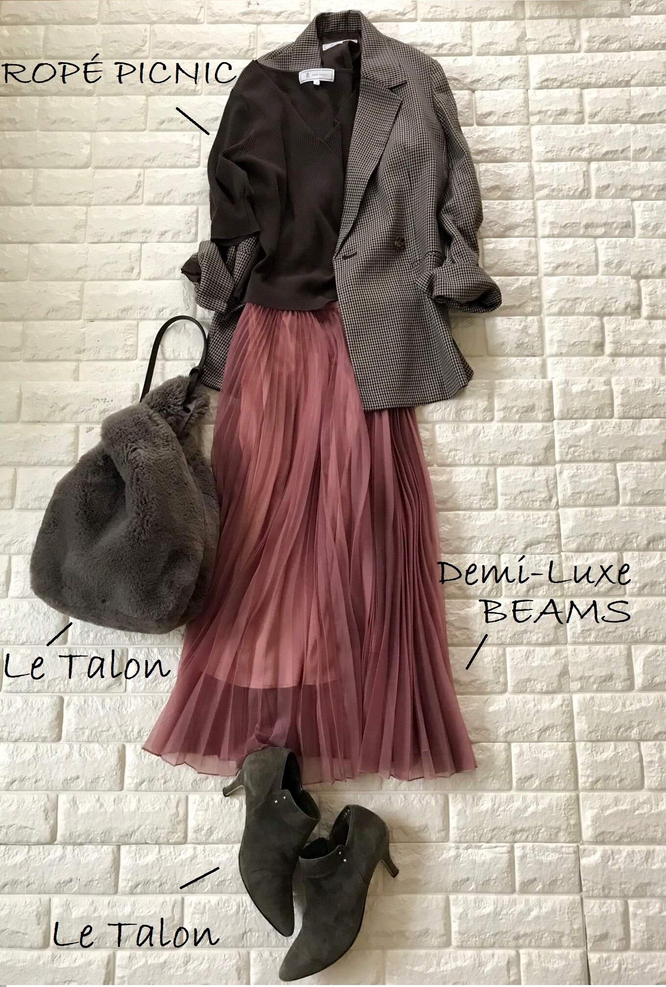ロペピクニックのチェック柄テーラードジャケット×ピンクのプリーツスカートコーデ