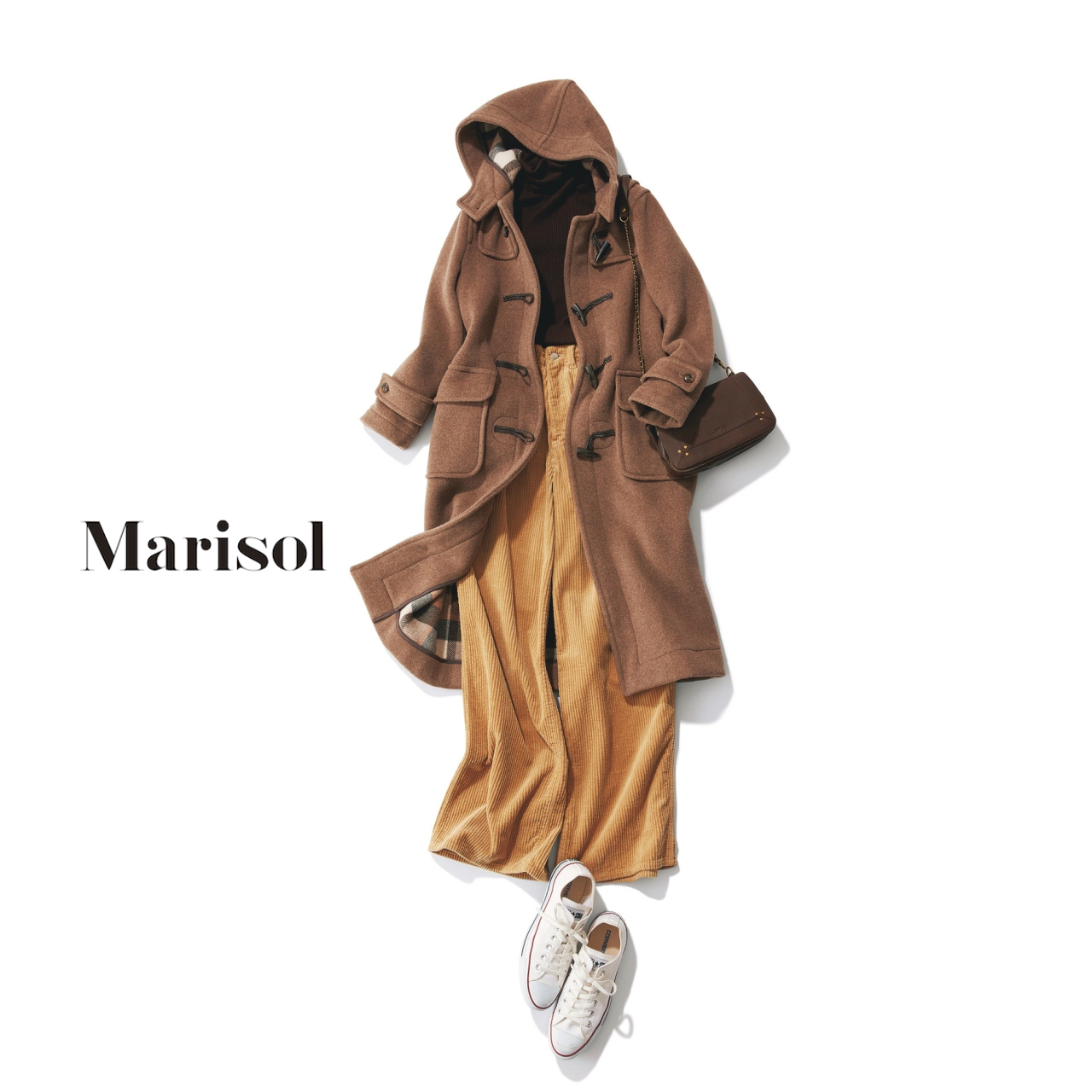 40代ファッション 正統派ダッフルコート×タートルニット×コーデュロイパンツコーデ