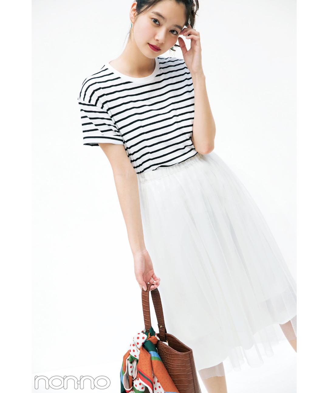 ボーダーTシャツなのに女っぽい! 新川優愛の着回しコーデ1×5_1_3-1