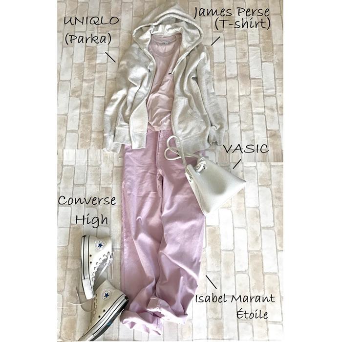 白コンバースのハイカットスニーカー×パーカ&きれい色パンツのファッションコーデ