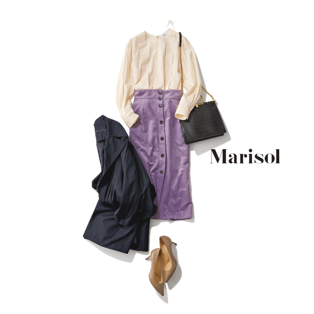ファッション アイボリーブラウス×ラベンダータイトスカートコーデ