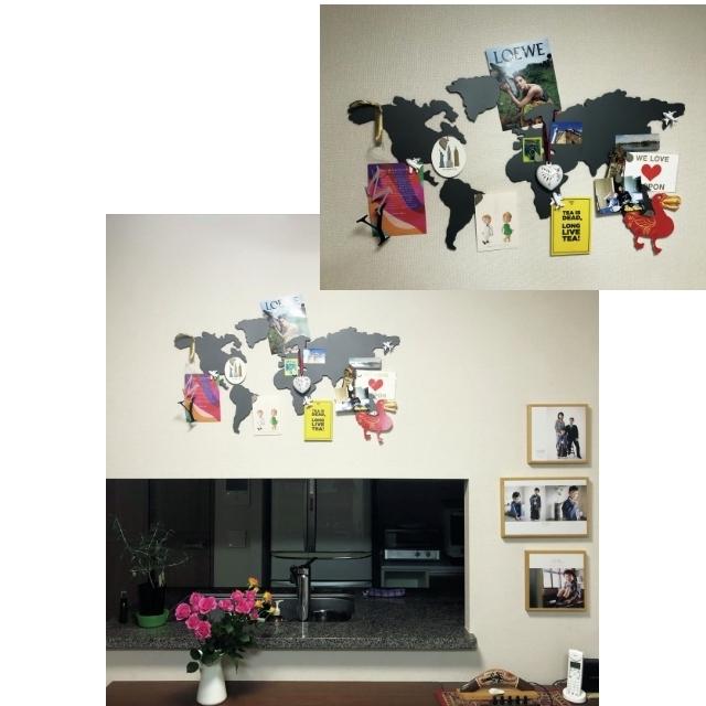 「マグネットの世界地図に外国の思い出をクリップ」