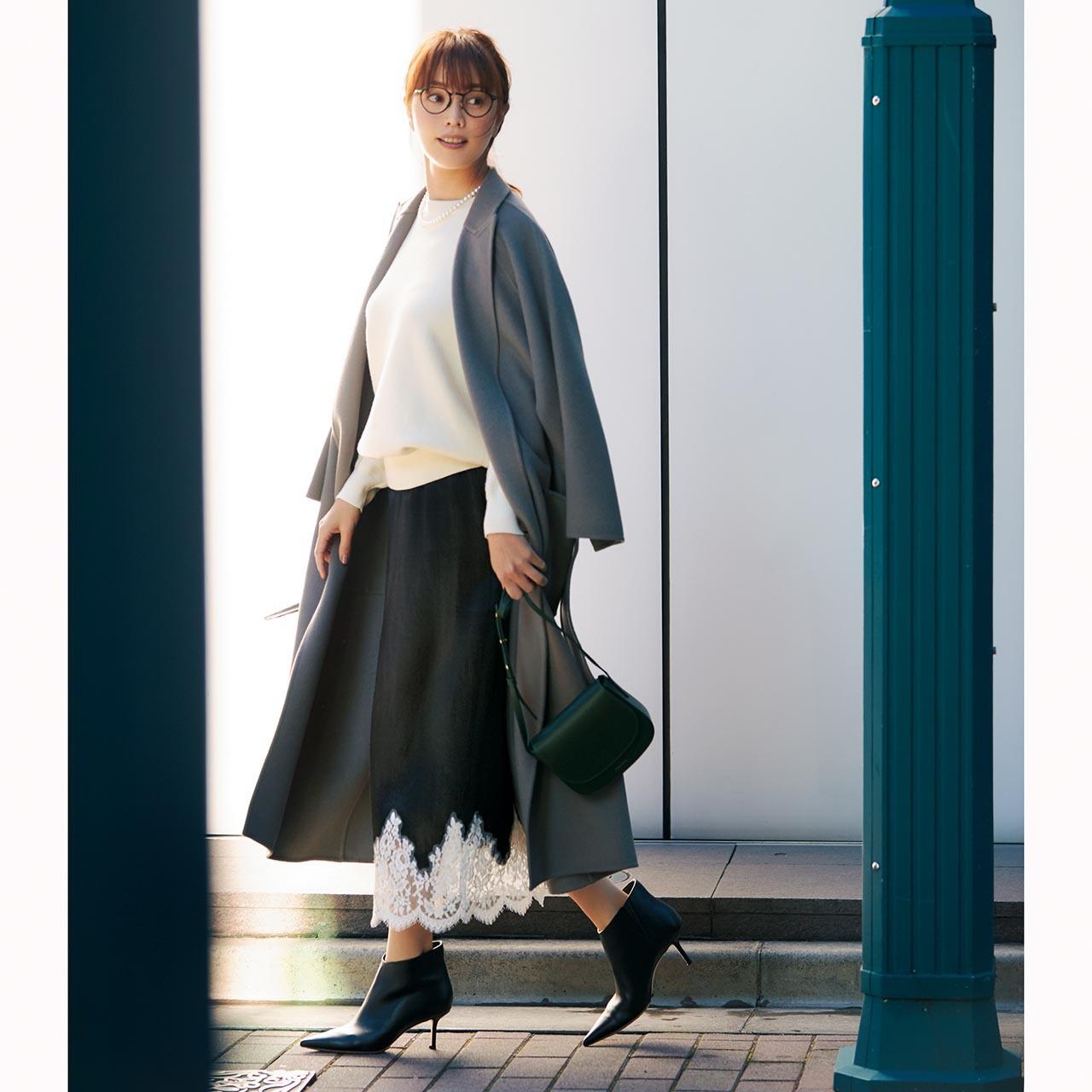 「ハリツヤ・スカート」投入で冬コーデを女性らしく華やかにアップデート!_1_1-1