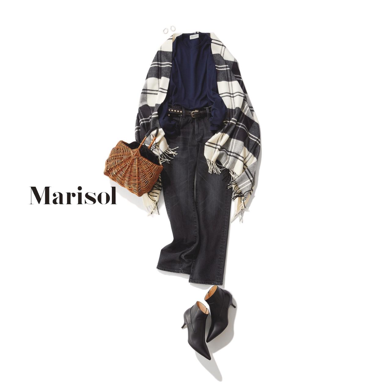ファッション チェック柄ストール×ブラックデニムコーデ