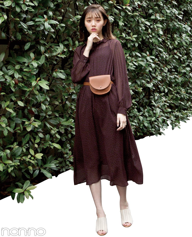 【夏のワンピースコーデ】江野沢愛美の丸いシルエットで可愛げなウエストポーチ×ワンピースでキレイめコーデ。