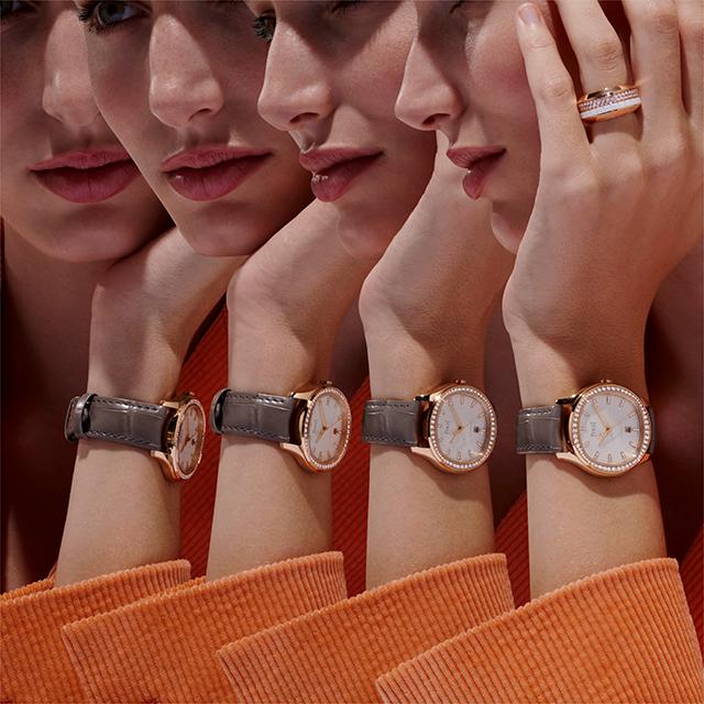 ゴールドケース×ストラップのモデル。女性の華奢な手首にもなじんでくれる。
