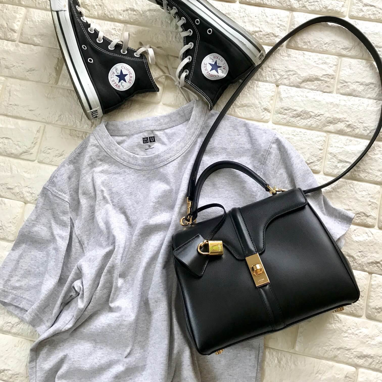 セリーヌのバッグとユニクロを合わせた画像