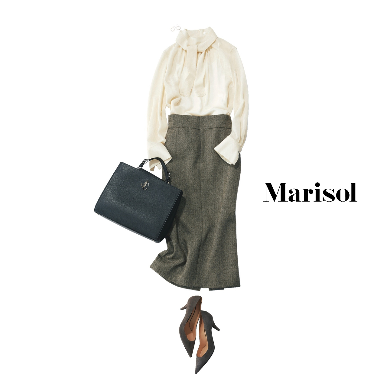 40代ファッション ボウタイブラウス×タイトスカート×パンプスコーデ