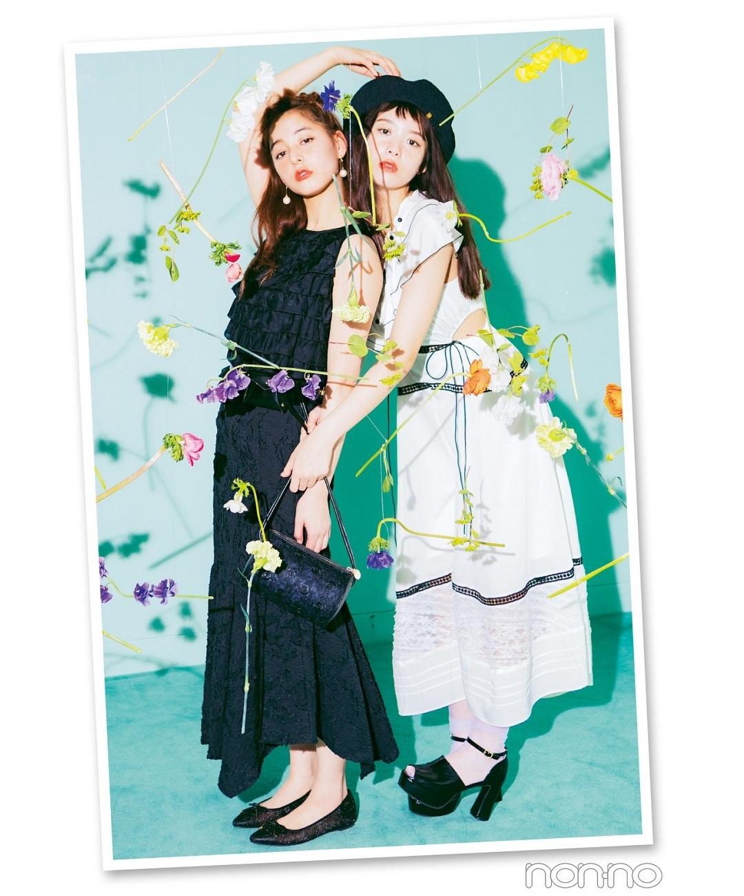 【夏のワンピースコーデ】新木優子と馬場ふみか、この夏は甘めモノトーンコーデでいく!
