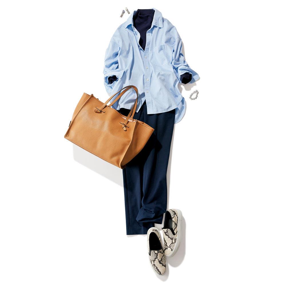アラフォーの大定番カラー「ネイビー」の細身パンツを着まわし_1_5