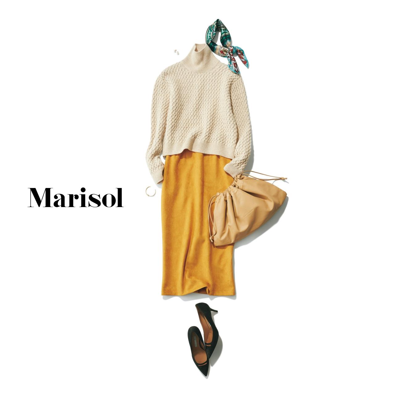 40代ファッション ニット×スカート×パンプスコーデ
