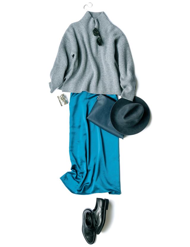 きれい色のナロー系スカートとイレーヴのニットコーデ