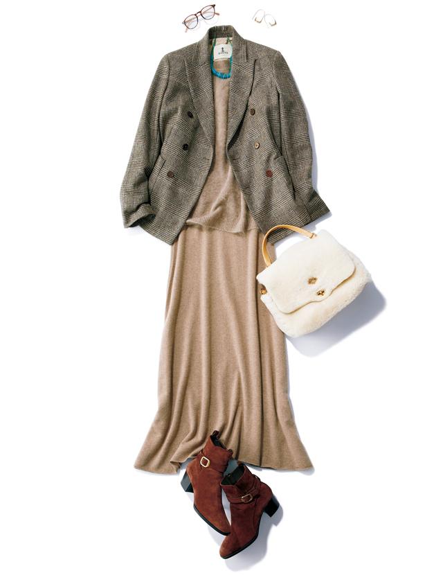 女らしいニットスカートとトラッドなジャケットのコーデ
