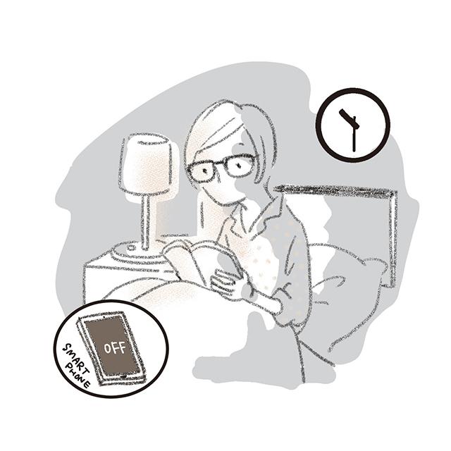 深夜トイレに起きたときなども、強い明かりを避け、スマー トフォンの操作を控えよう
