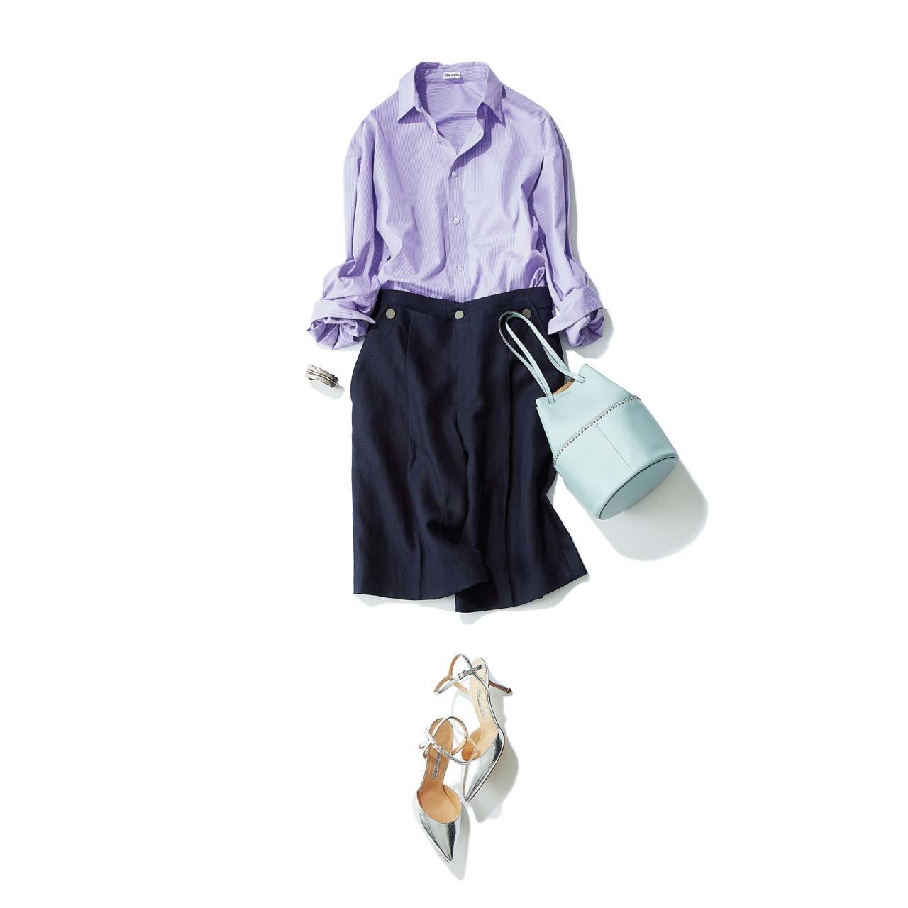 ライラックカラーのシャツ×マリンテイストのショートパンツコーデ