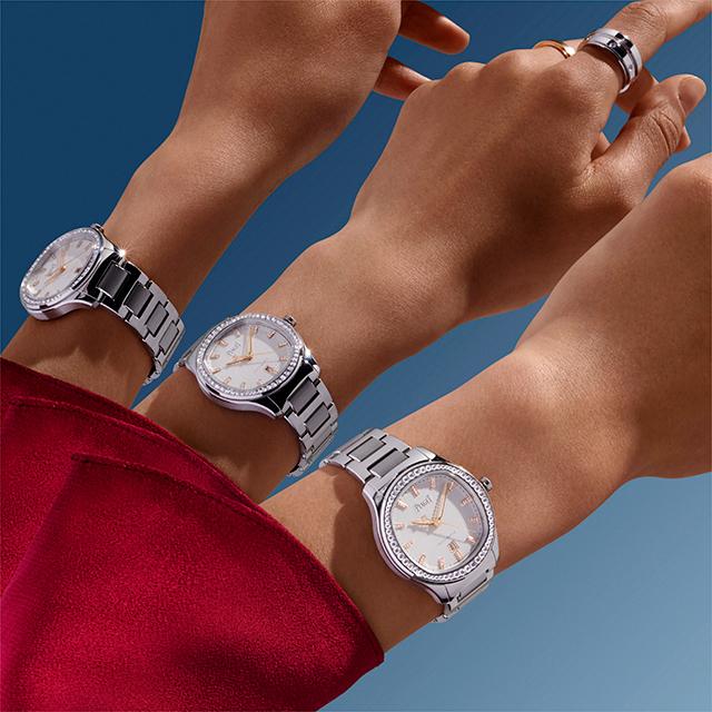 ピアジェの女性用時計では珍しいステンレススチールのブレスレット。巧みなポリッシュ仕上げにより、そのまばゆさはジュエリー級!
