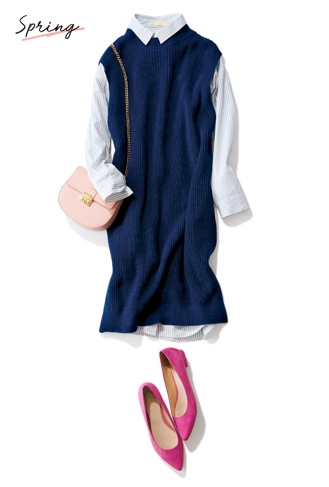 アースミュージック&エコロジーで買うなら、ニットとシャツのセットワンピ!【今→春着回しコーデ】_1_3