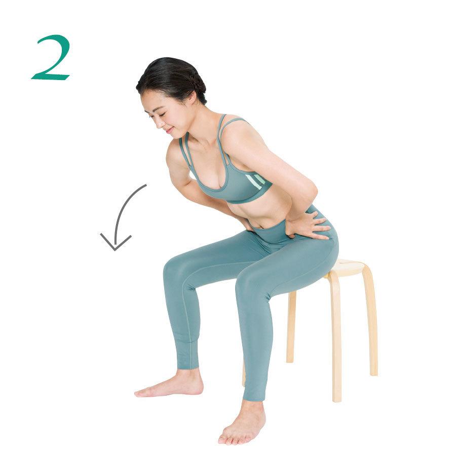 2.指を腰骨に沿って徐徐に内側にずらしていき、上体を指の方向に倒しておなかに圧をかける。1カ所2回。