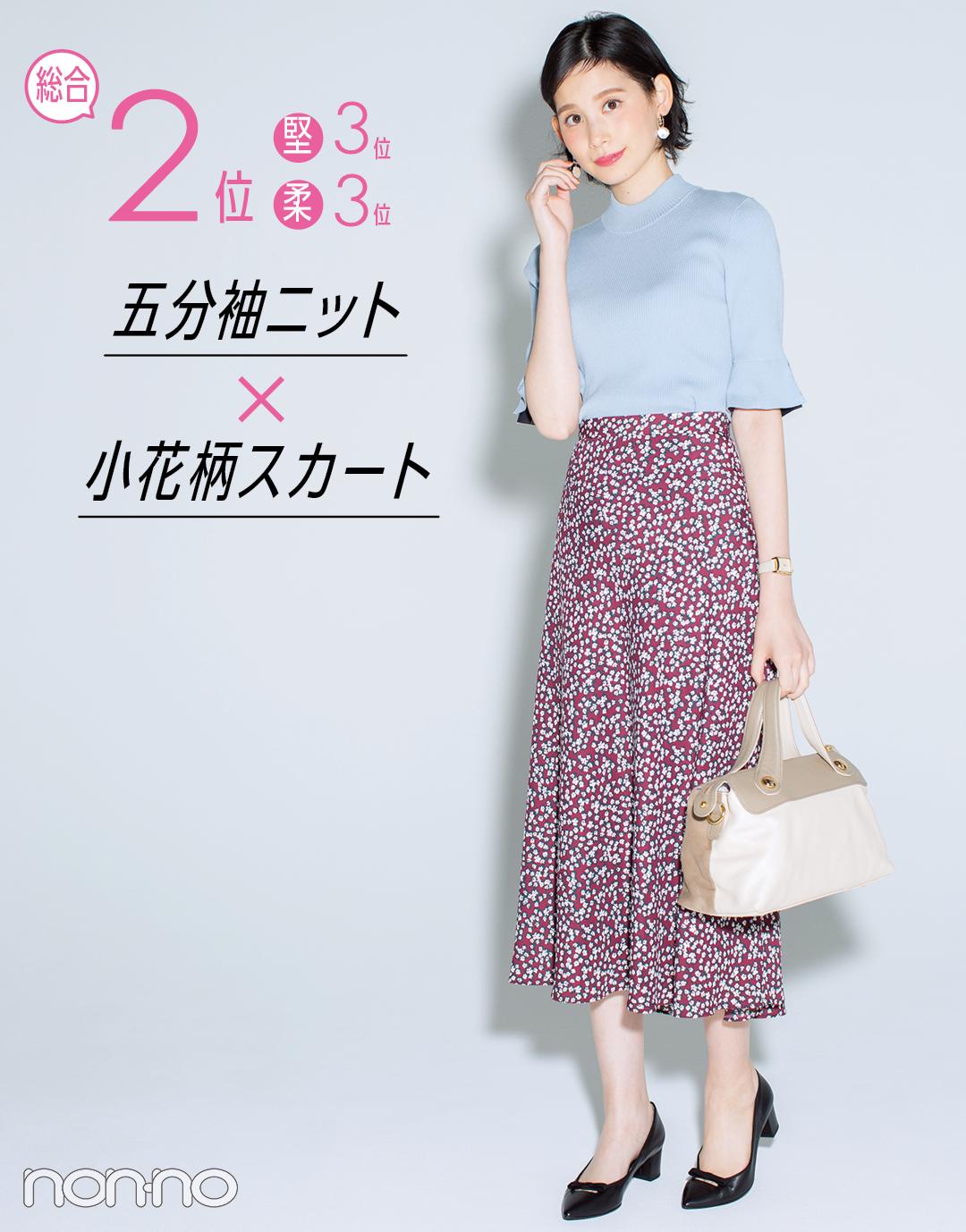 総合2位 五分袖ニット×小花柄スカート