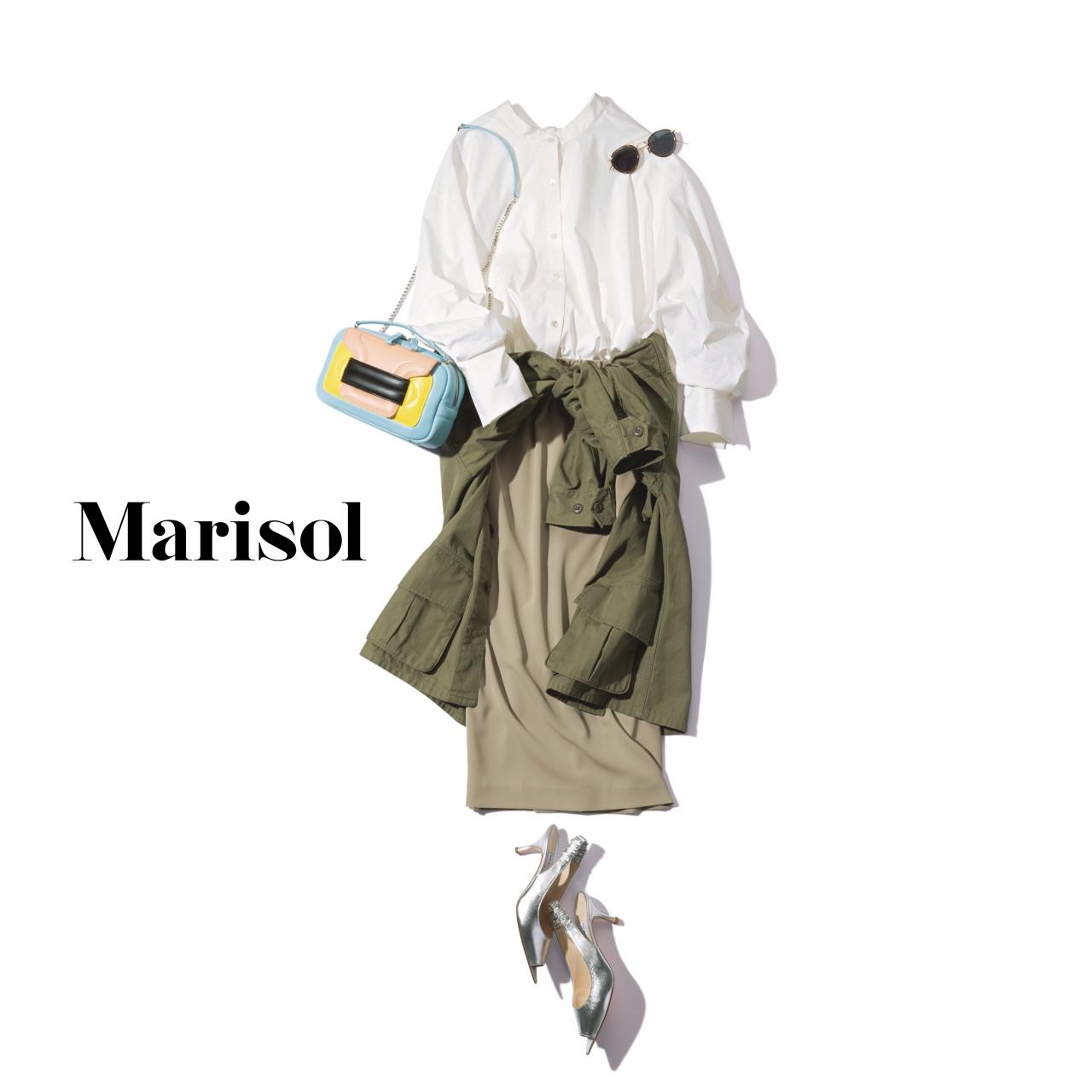 40代ファッション バンドカラーシャツ×つや感スカート×カーキジャケットコーデ