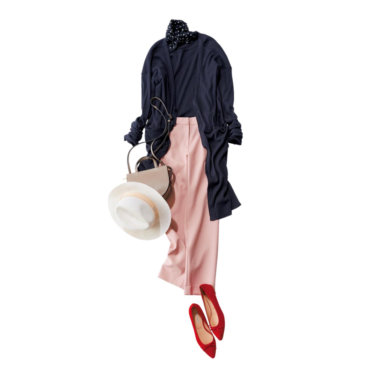 モーヴピンクパンツ×ロングカーディガンのファッションコーデ