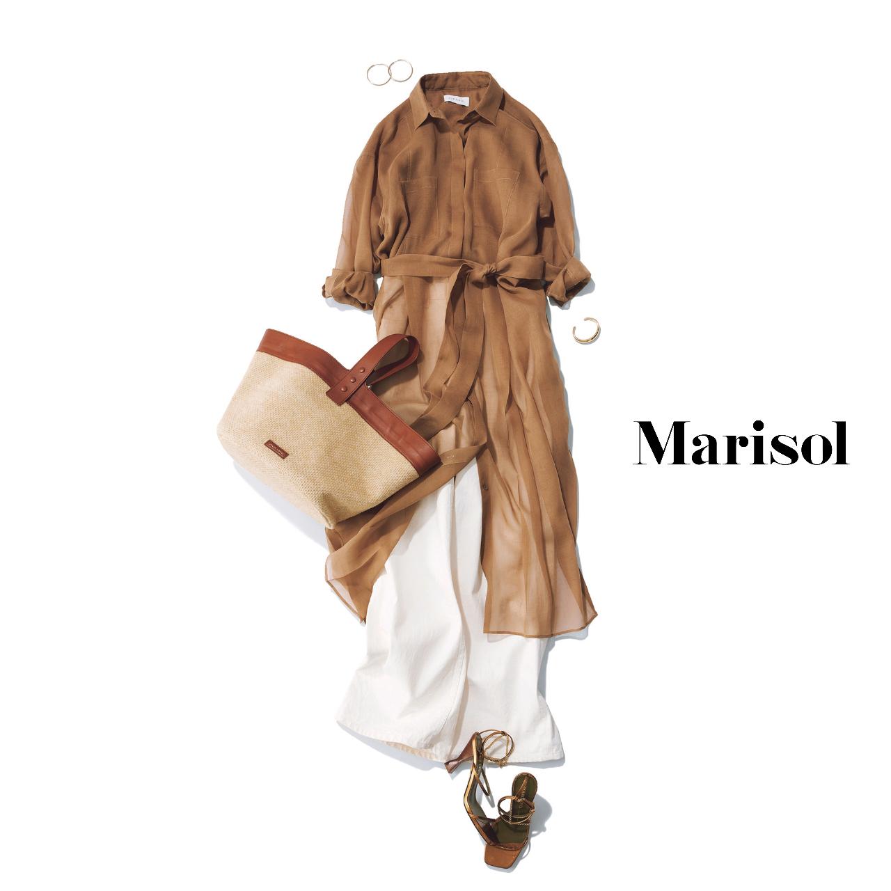 40代ファッション  透けシャツコート×白パンツコーデ