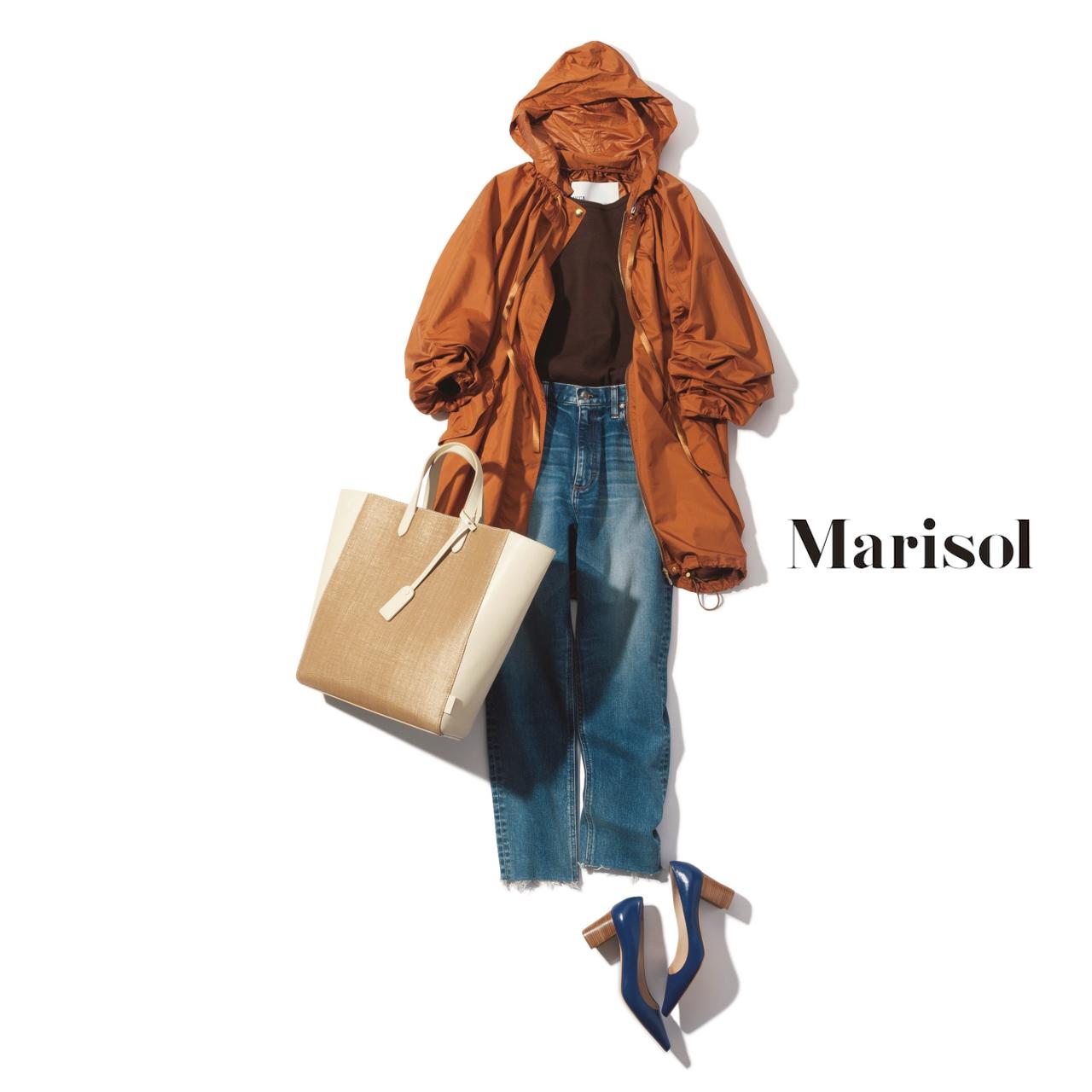 40代ファッション ナイロンブルゾン×ストレッチデニムコーデ
