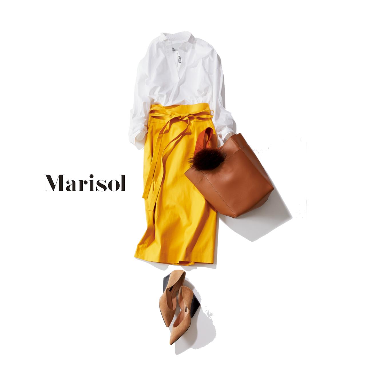ファッション 白シャツ×イエロースカートコーデ