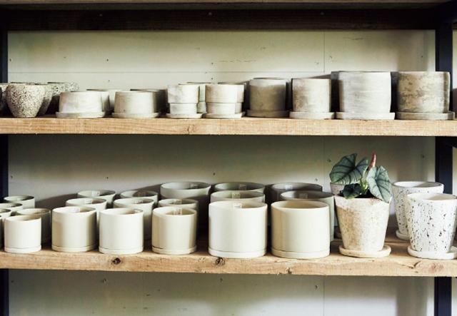 黒・グレー・ゴールド系の鉢が豊富。