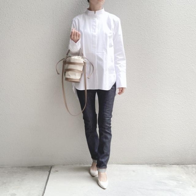 スーピマコットンタックシャツ(White Mサイズ)