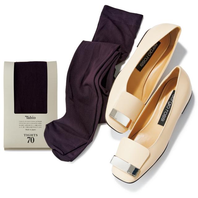 セルジオ ロッシの靴とダークワインのタイツ
