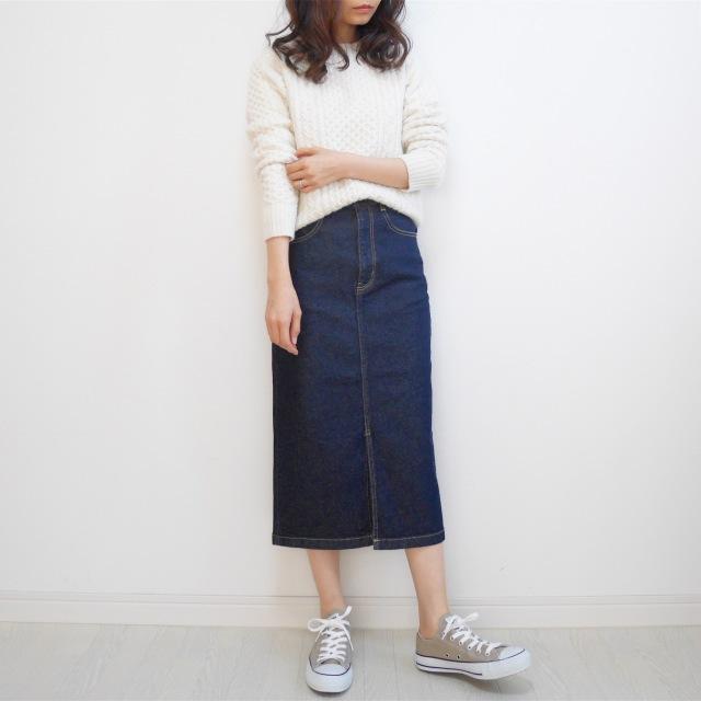 【GU新作】絶対買い!デニムフロントスリットミディスカート_1_7-1
