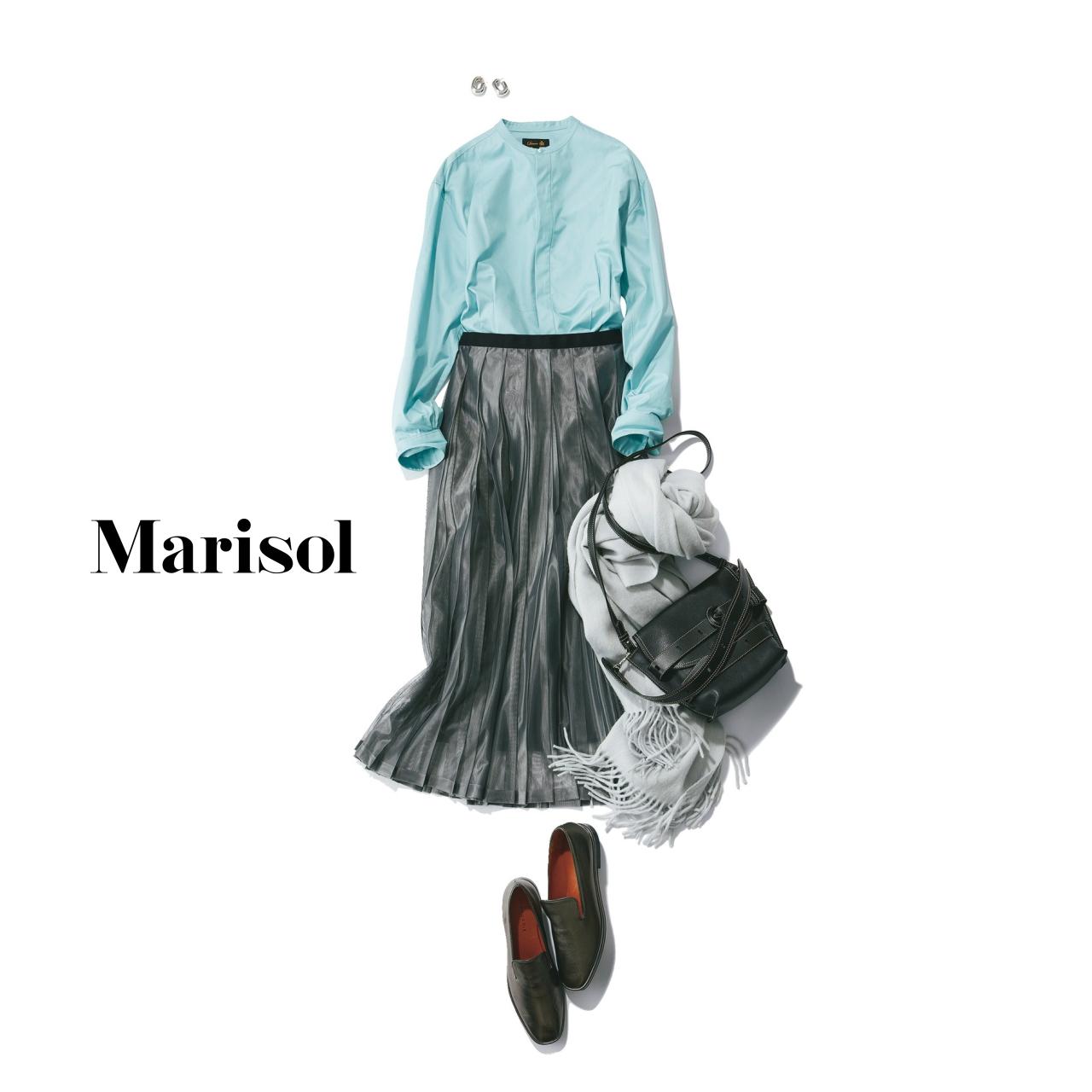40代ファッション ミントグリーンシャツ×シルバースカートコーデ