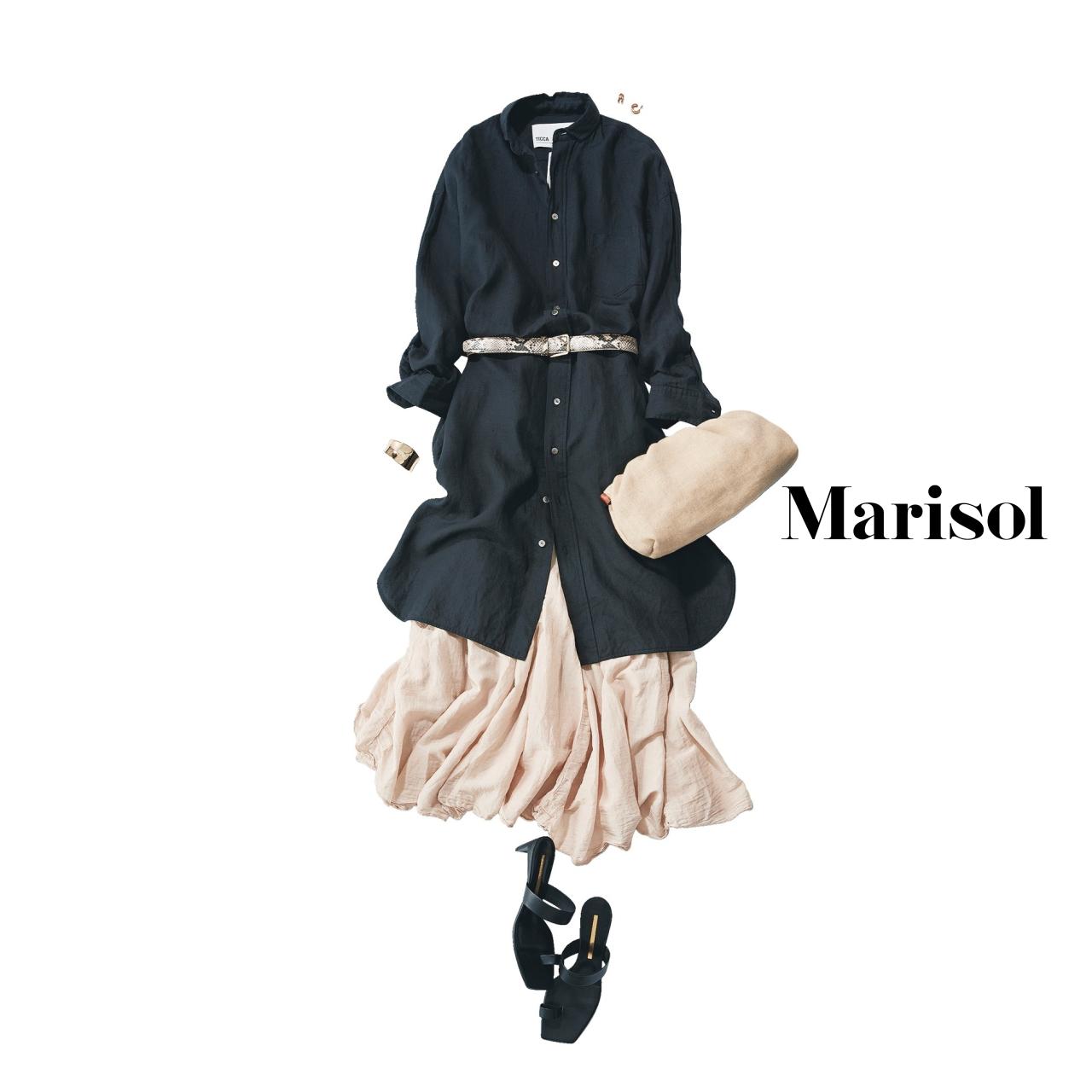 40代ファッション ロングシャツワンピース×ロングスカートコーデ