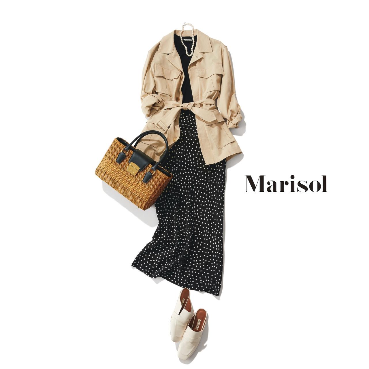 40代ファッション サファリジャケット×ドットスカートコーデ