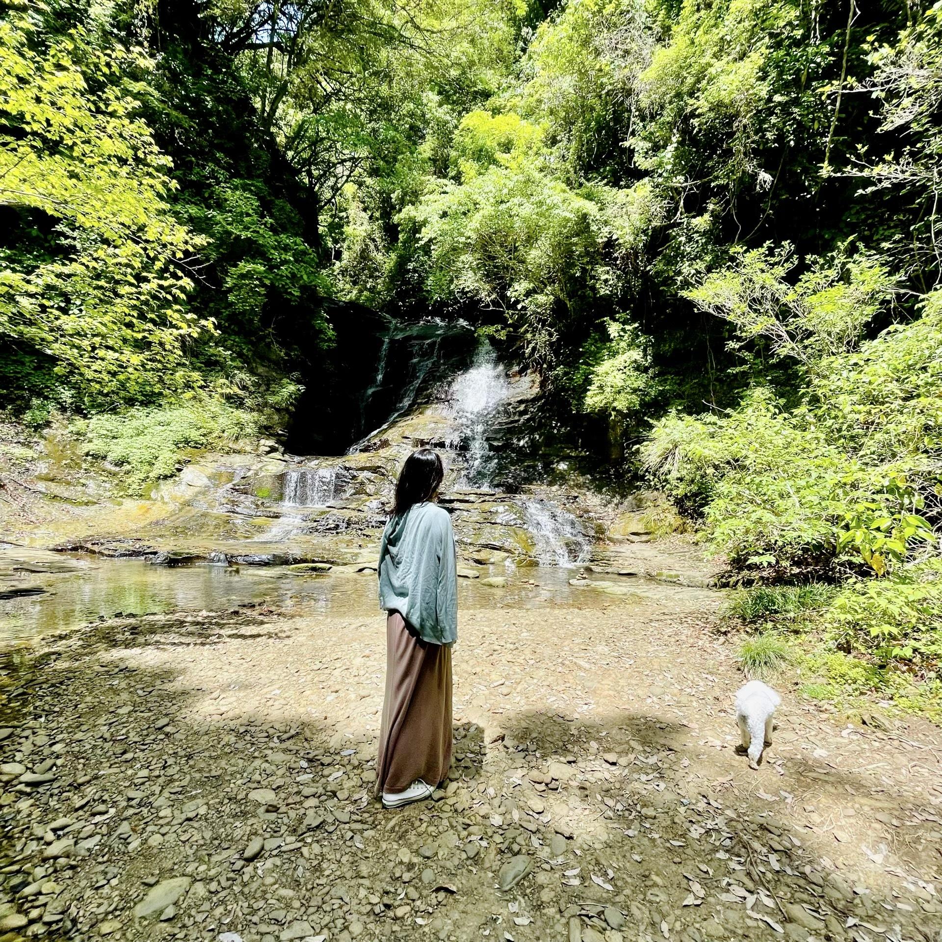 千葉の養老渓谷「万代の滝」、私、愛犬ハッピー