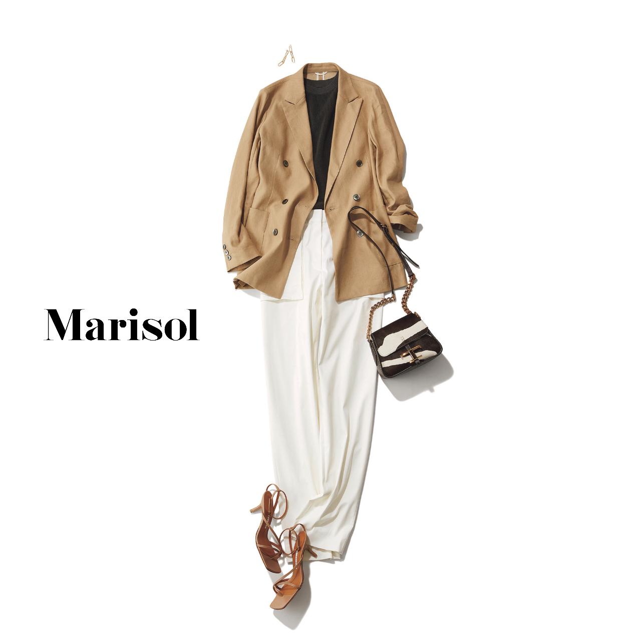 40代ファッション  ベージュジャケット×白パンツコーデ