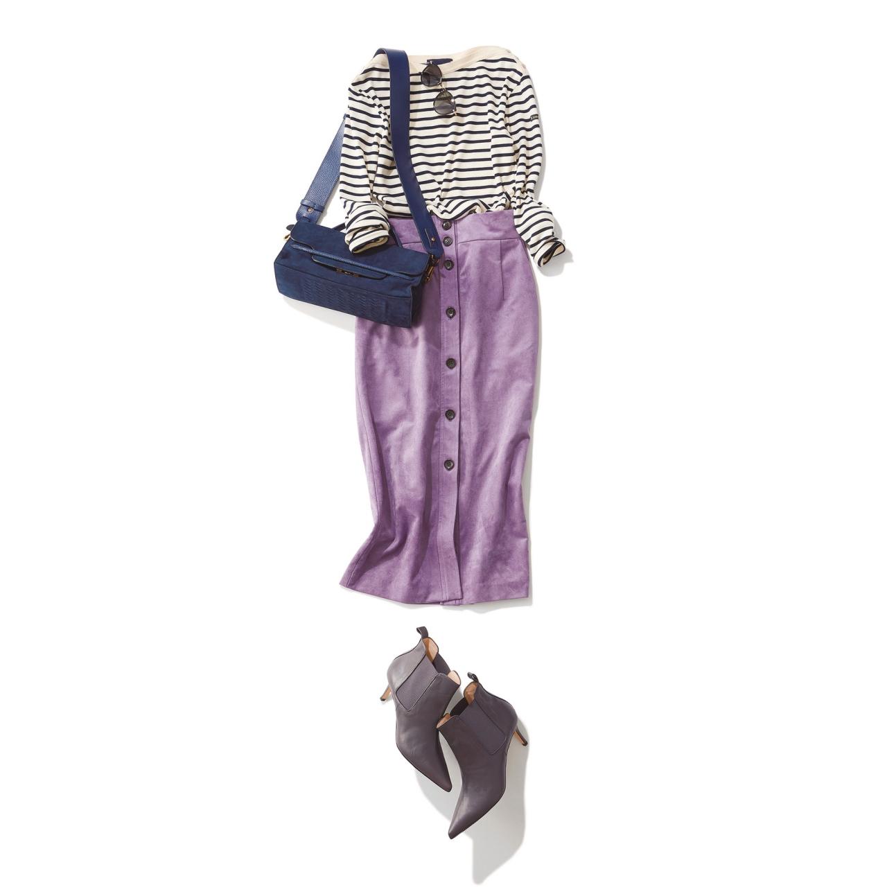 ボーダートップス×パープルスカートのファッションコーデ