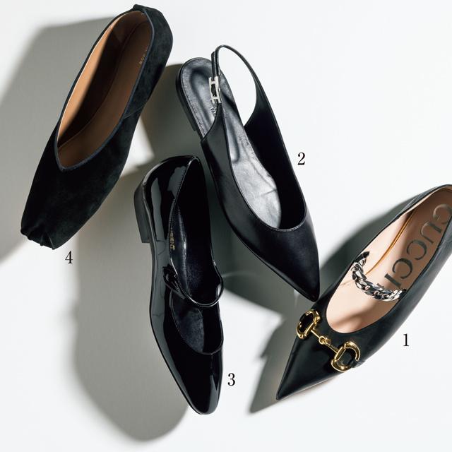 """ハイブランドの""""シックな黒"""" フラット靴"""