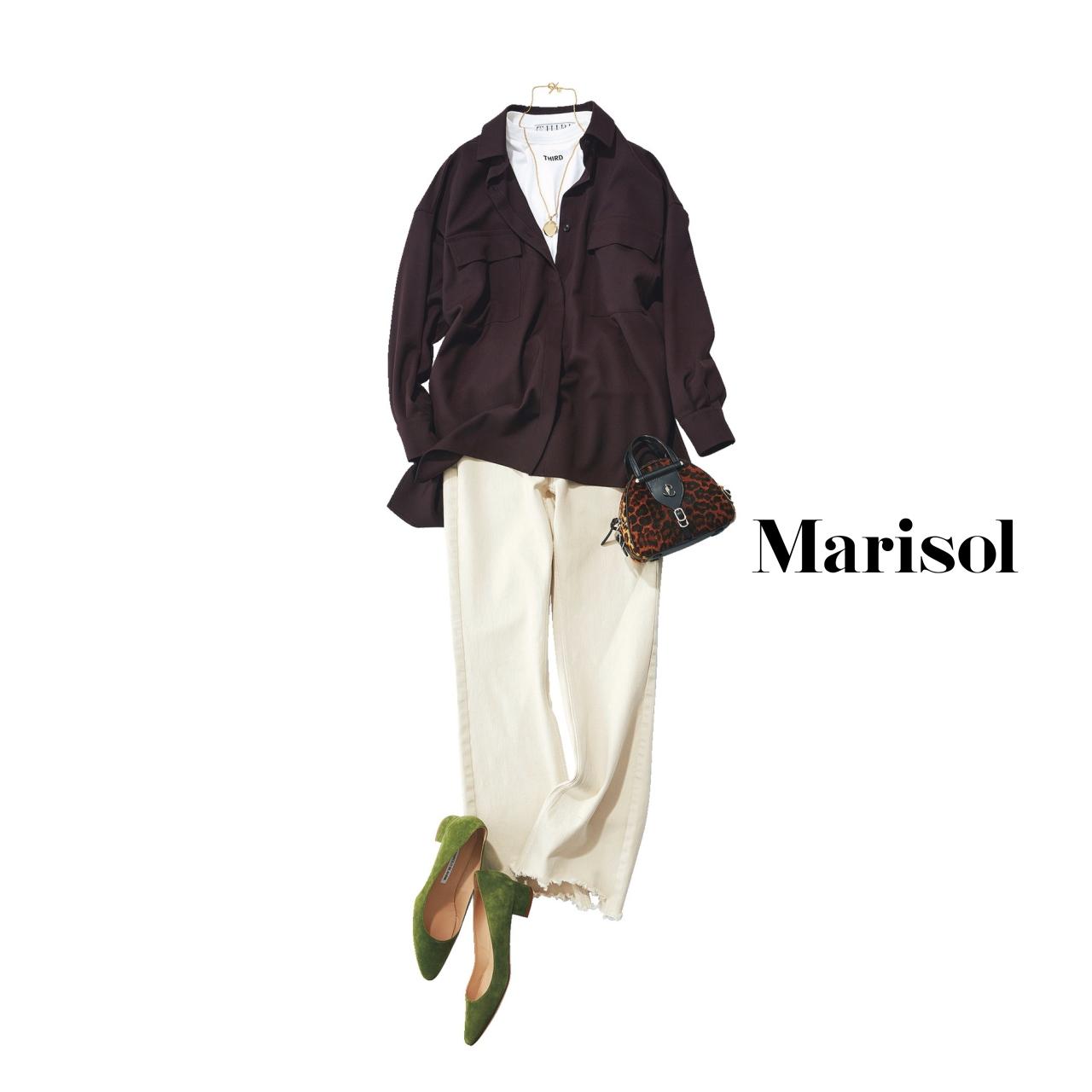 40代ファッション シャツ×デニムパンツコーデ