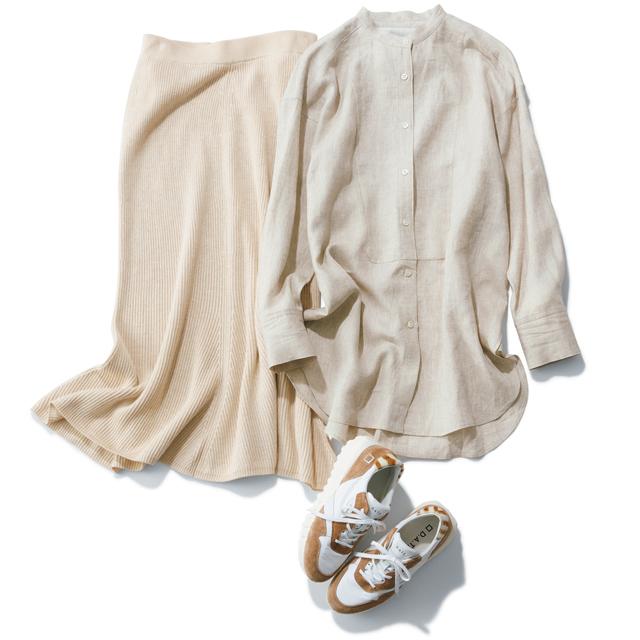 ウィム ガゼットのベージュリネンシャツ&ニットスカート